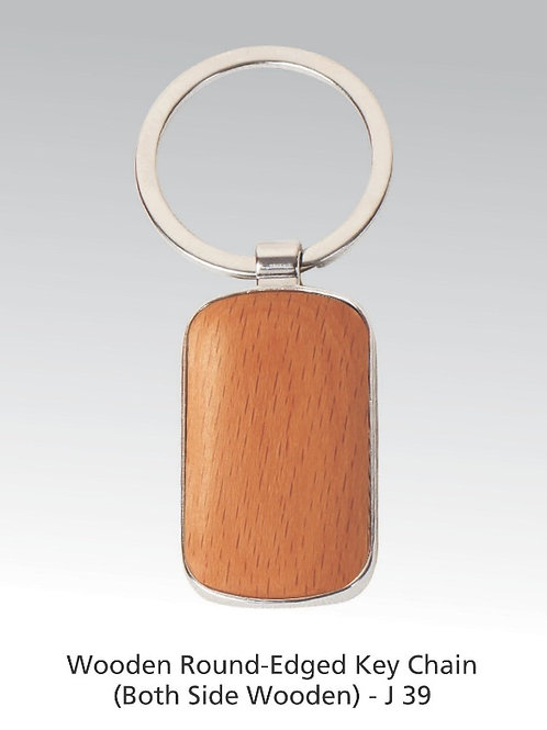 Wooden round edge key ring (both side wooden) J-39