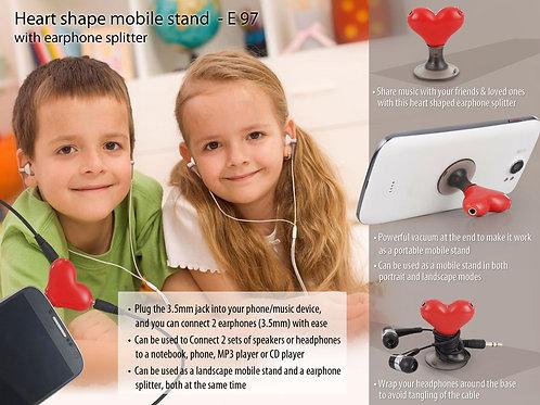 Heart shape vacuum mobile stand with earphone splitter E-97