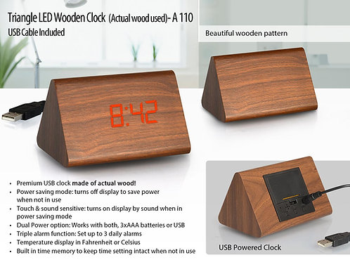 Triangle LED wooden clock (actual wood used) (USB cable included) A-110