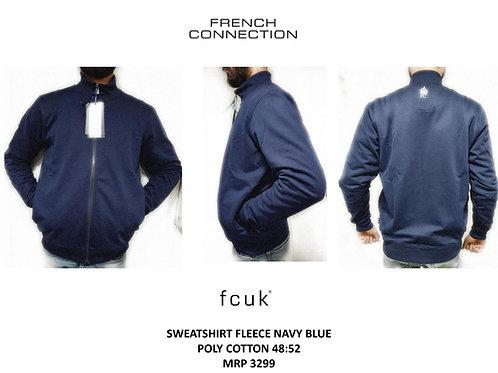 Fcuk Sweatshirt Fleece Navy Blue Poly Cotton CI-17