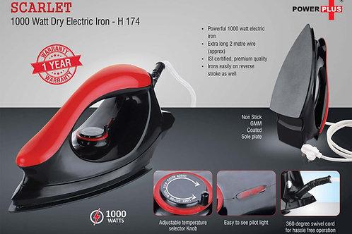 Scarlet: 1000 Watt dry electric iron by Power Plus | 1 year warranty H-174