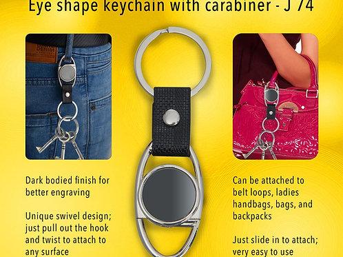 Eye shape keychain with Carabiner (gunmetal finish) J-74