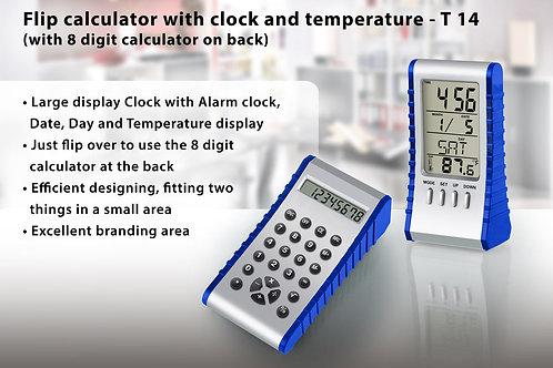 Flip calculator with clock and temperature T-14