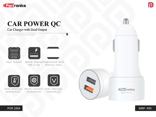 CAR POWER QC Car Charger with Dual Output POR-1004