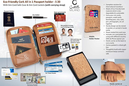 Eco-Friendly Cork All in 1 Passport holder With Sim S-20