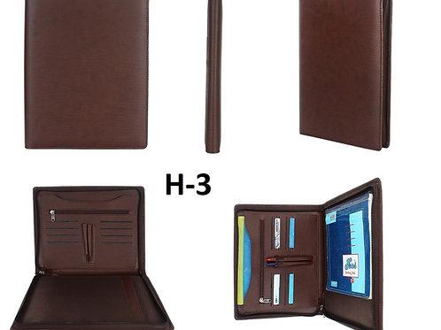 Conference Folder-Zipper-Brown H-03