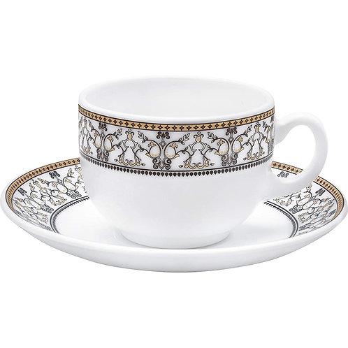 LaOpala Glass Cup Saucer Set of 12 Pcs Moroccan Gold CI-LO-31