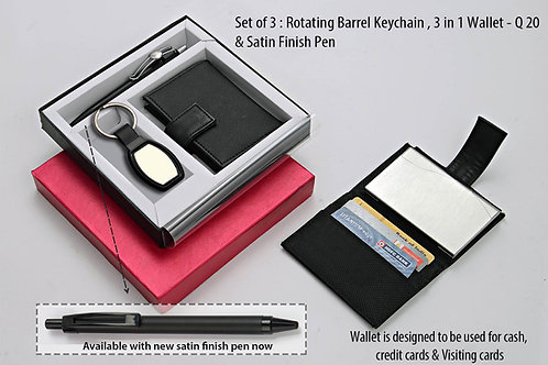 Set of 3 : Rotating Barrel shape keychain (J95), 3 in 1 wallet Q-20