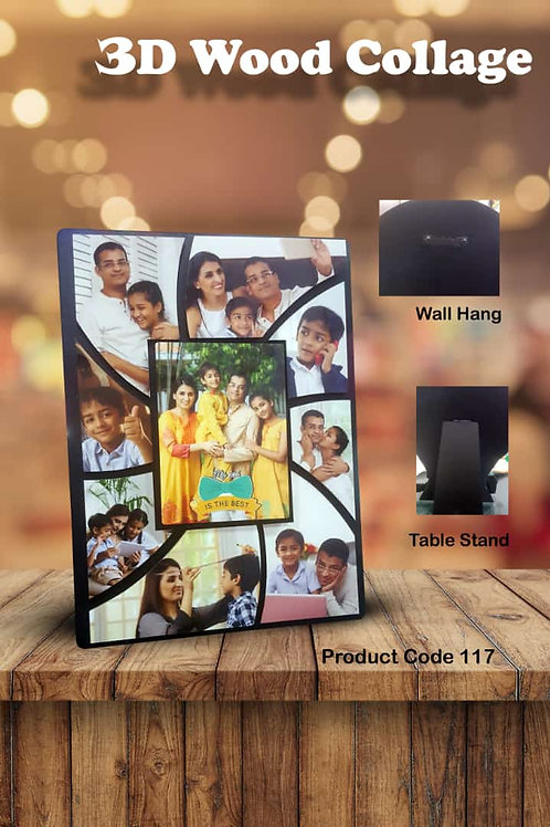 Personalized 3D Wood Collage Photo Frame CI- 106