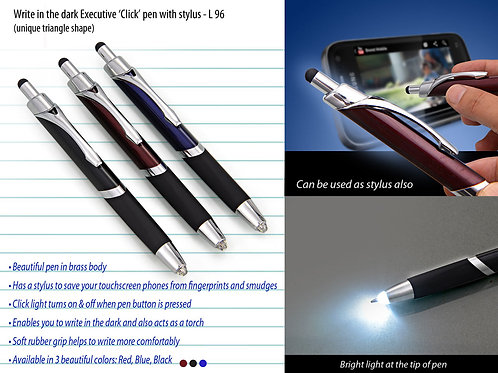Write in the dark executive 'Click' pen with stylus (brass body) L-96