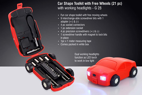 Car shape toolkit with free wheels (21 pc) | with working headlights G-28