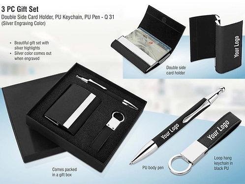 3 pc gift set: Double side card holder, PU keychain, PU pen Q-31