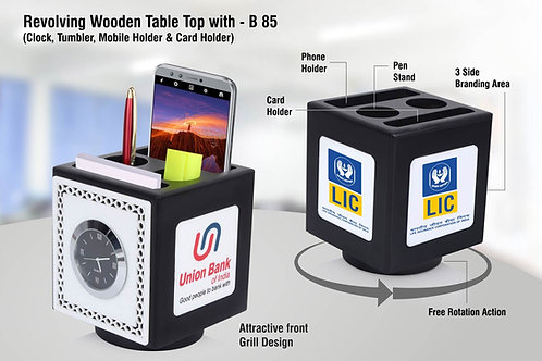 Revolving wooden table top with Clock, Tumbler, mobile holder B-85