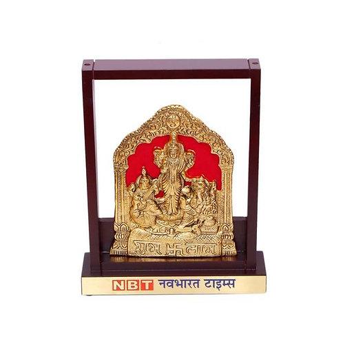 Diwali Pooja (Brass Finish) in Wooden Frame CI-MP-93 A