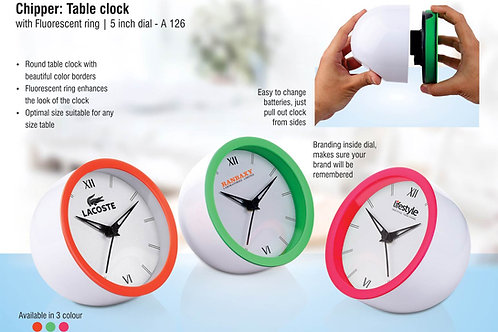 Table clock with Fluorescent ring A-126