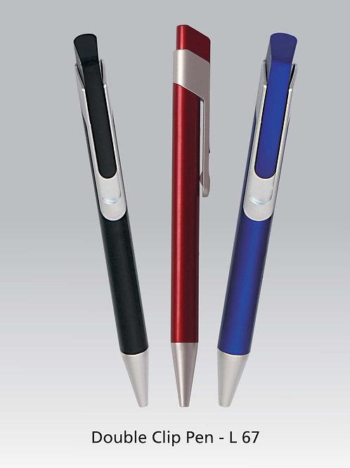 Double clip plastic pen L-67