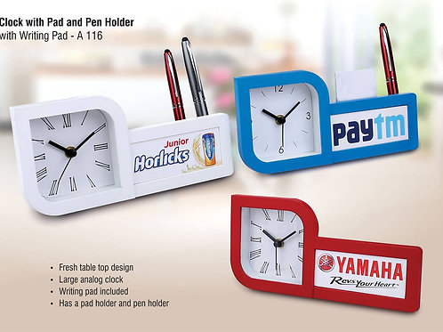 Clock with pad and pen holder A-116