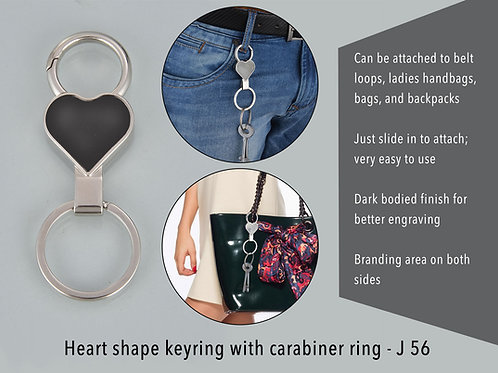 Heart shape keyring with carabiner ring J-56