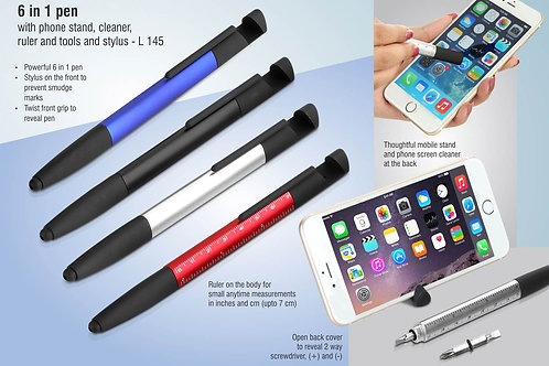 6 in 1 pen with phone stand, cleaner, ruler and tools and stylus L-145