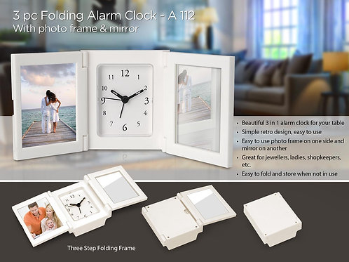 3 pc Folding alarm clock with Photo frame and mirror A-112