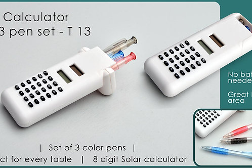 Solar calculator with 3 pen set T-13