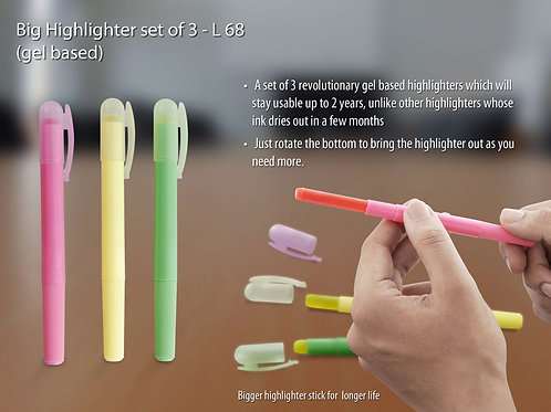 Big Highlighter set of 3 (gel based) L-68