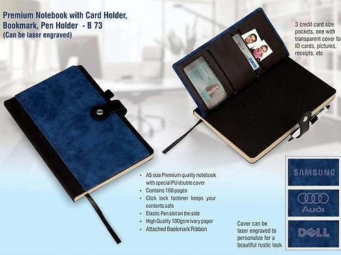 Premium notebook with card holder, bookmark, pen holder B-73