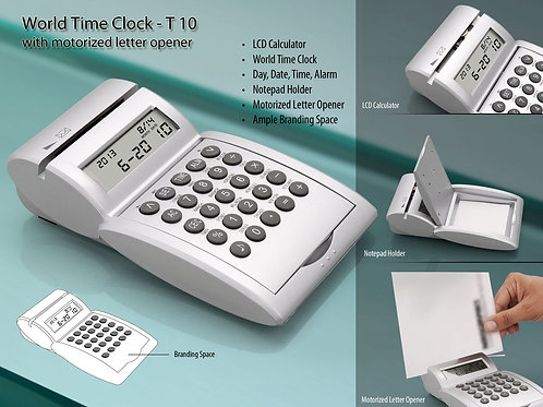 World time calendar Clock/ Calculator/ Motorized Letter opener/ Pad holder T-10