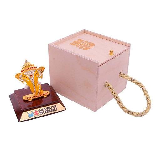 Ganesh Ji (Brass Finish) On Wooden Base in Wooden Box MP-91