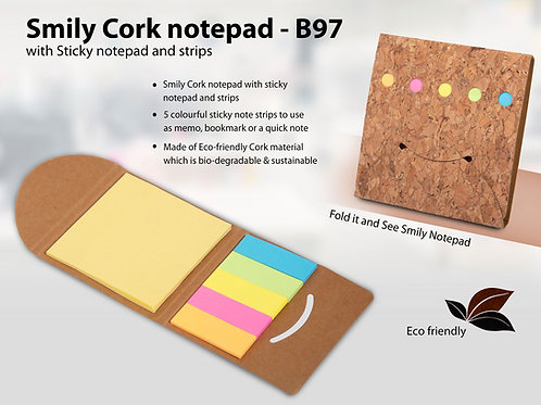 Smily Cork notepad with Sticky notepad and strips B-97