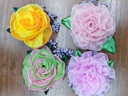 Розы из органзы