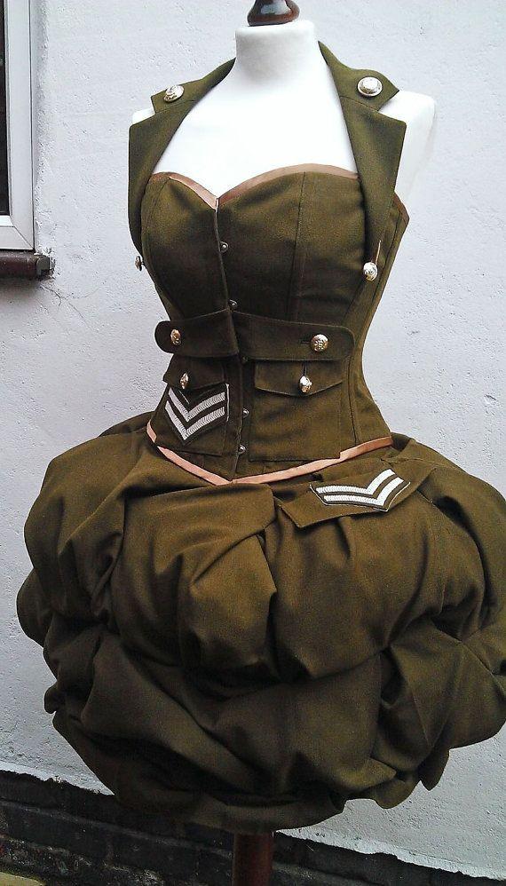 стиль милитари платье