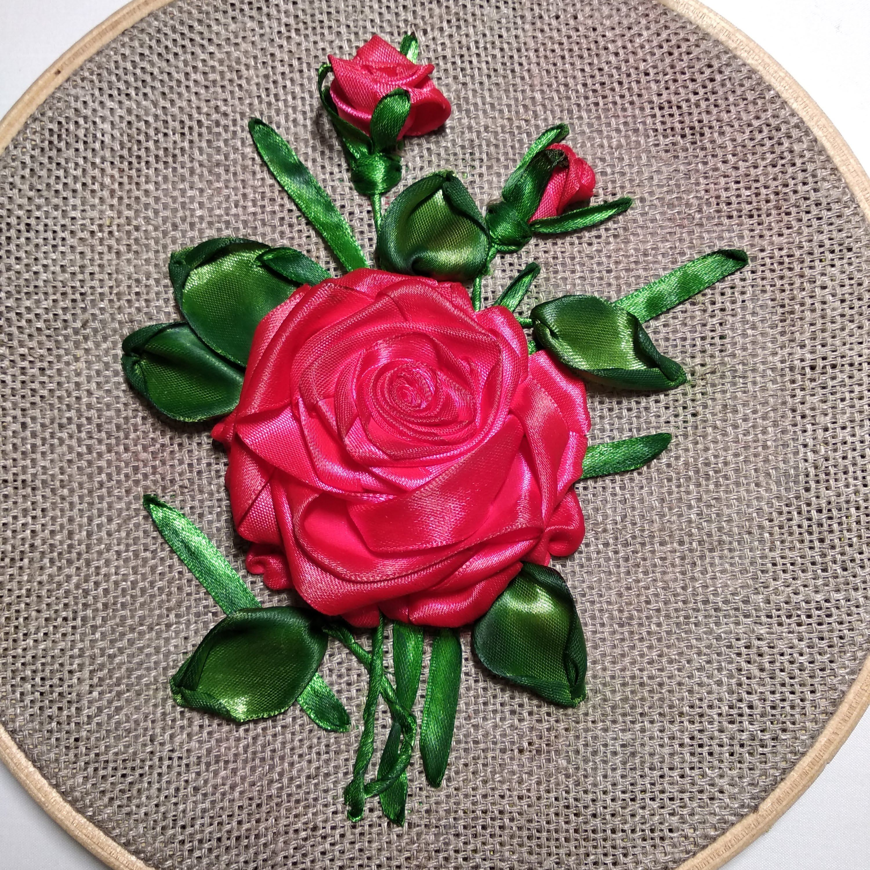 вышивка лентами роза