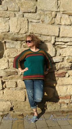 Пуловер изумрудный