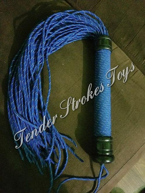 Reflective Blue Flogger w/Binded Handle