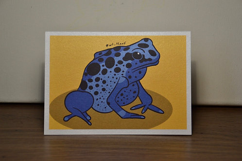 Blue Poison Dart Frog A6 Printed Greetings Card