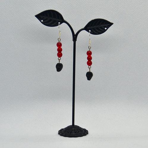 Red and Black Skull Earrings