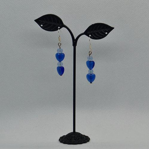 Blue Loveheart Drop Earrings