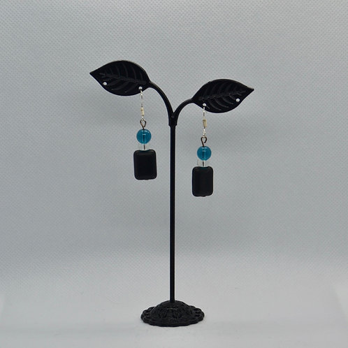 Black and Blue Drop Earrings