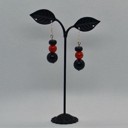 Black and Orange Drop Earrings