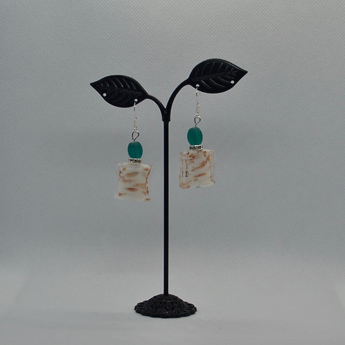 White/Pink Square Drop Earrings with Teal Highlight