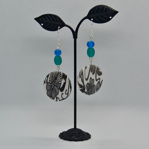 Blue and Green with White Floral Earrings