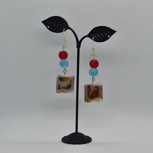 Chunky Purple, Blue and Red Two Segent Drop Earrings