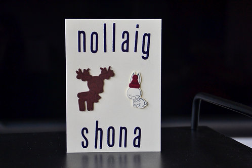 Nollaig Shona Deer and Rabbit A6 Christmas Card