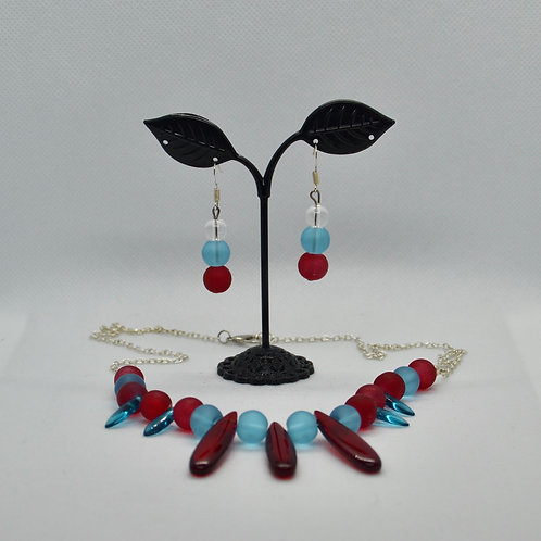 Red and Blue Beaded Necklace and Earrings Set