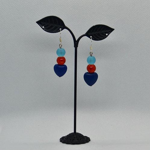 Love Heart Drop Earrings - blue and orange
