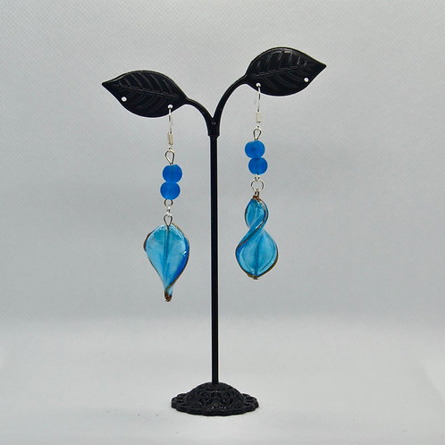 Blue Spiral Drop Earrings