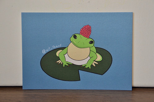 Frog with Raspberry Hat A6 Print