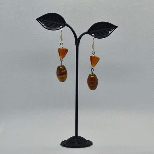 Orange/Amber Two Segment Drop Earrings