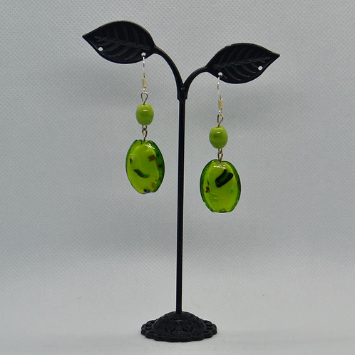 Avocado, Green Chunky Two Segment Drop Earrings